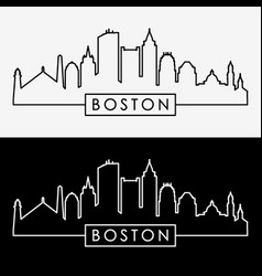 Boston skyline linear style vector