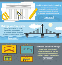 bridge design banner horizontal set flat style vector image