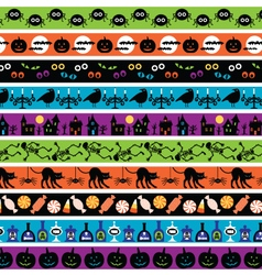 Bright halloween border patterns vector