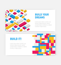 Bundle of web banner templates with plastic vector