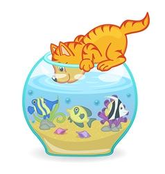 Cat looking into aquarium with fish vector