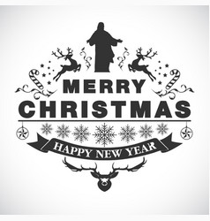 christmas greeting decorative emblem vector image