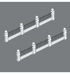 Classic white picket fence with bars vector