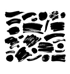 collection black brush strokes and line vector image
