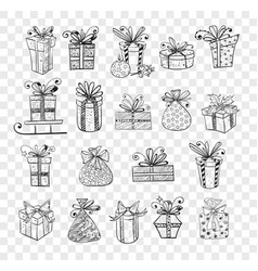 collection doodle sketch christmas gift boxes vector image