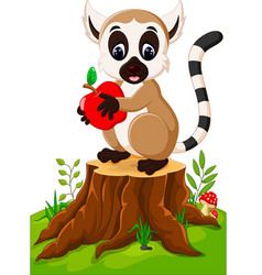 cute lemur standing on tree stump vector image