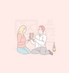 Dating at home romantic dinner love atmosphere vector