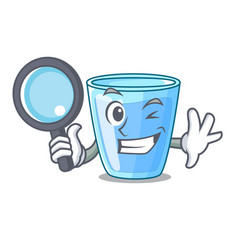 Detective fresh water glass in table cartoon vector