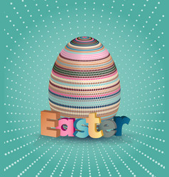 easter poster egg on blue pattern eggs with vector image