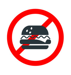 Eating not allowed food forbidden sign with vector