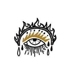 Eye sacred boho magical vintage distressed art vector