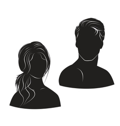 face man and woman on white background vector image