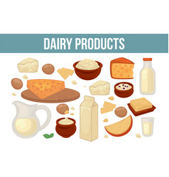 farm food dairy product milk and cheese organic vector image
