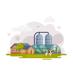 farm scene with country house greenhouse and silo vector image