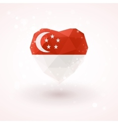 Flag of Singapore in shape diamond glass heart vector
