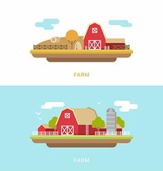 Flat style of farm landscape with farmhouses vector