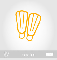 Flippers outline icon summer vacation vector