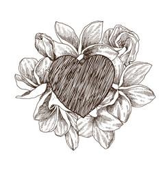 floral design frame with big heart hand vector image