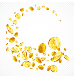 Flying gold coins in different positions vector