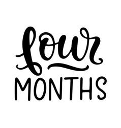 Four months baby shower newborn age marker vector