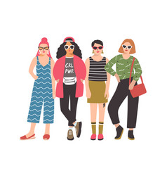 four young women or girls wearing stylish clothing vector image