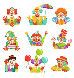 Funny cartoon friendly clowns character colorful vector