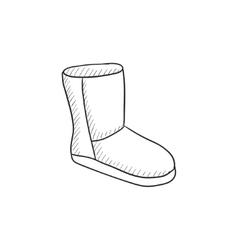 Fuzzy winter boot sketch icon vector