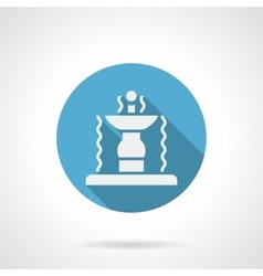 Garden fountain blue round icon vector