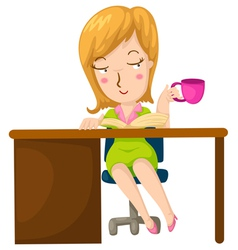 girl having coffee and reading a book vector image