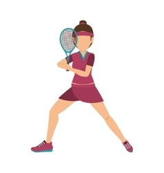 girl playing tennis sport vector image