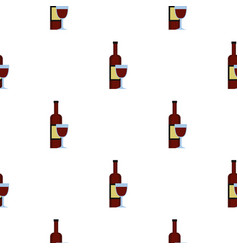 glass of red wine and a bottle pattern seamless vector image