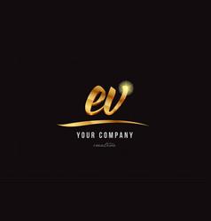 Gold alphabet letter ev e v logo combination icon vector