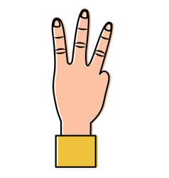 Hand showing three fingers gesture vector