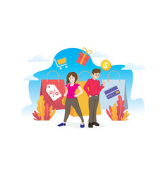 happy couple with shopping vector image
