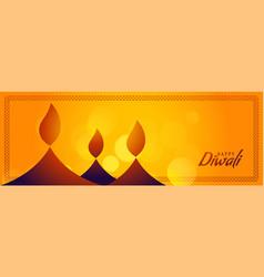 Happy diwali yellow banner with creative diya vector