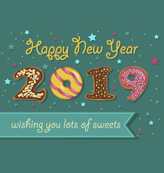 happy new year 2019 colorful donuts vector image