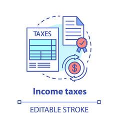 Income taxes concept icon government revenue idea vector