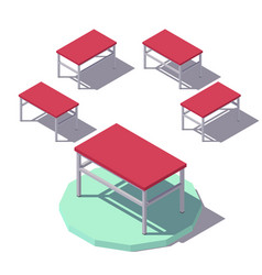 isometric red office table vector image