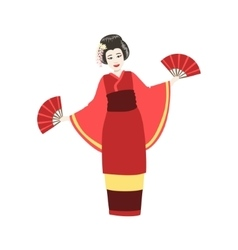 Japanese Geisha Doing Fan Dance vector image