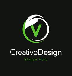 Letter v circle leaf creative business logo vector