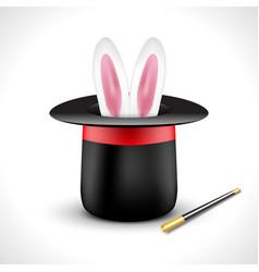 Magic hat with bunny rabbit ears Magic show vector image