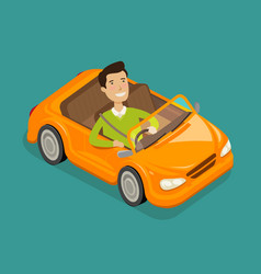man driving a electric car vehicle cabriolet vector image