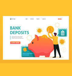 Man puts money in a piggy bank invests money vector