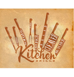 Meat cutting knifes poster craft vector