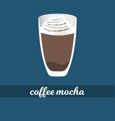 Mocha coffee cup with whipped cream and chocolate vector
