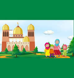 Muslim family in front of mosque vector