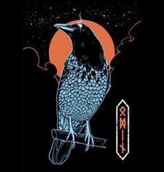 Mystical crow vector