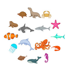 ocean inhabitants icons set cartoon style vector image