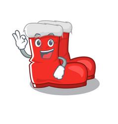 Okay santa boots on cartoon shoe rack vector