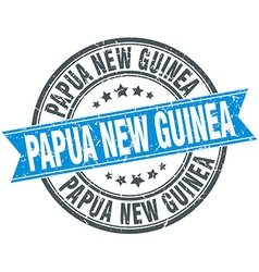 Papua New Guinea blue round grunge vintage ribbon vector